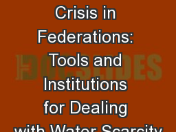 Learning from Drought Crisis in Federations: Tools and Institutions for Dealing with Water Scarcity