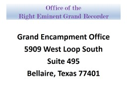 Office of the Right Eminent Grand Recorder