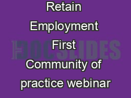 Recruit, Train, Retain Employment First Community of practice webinar