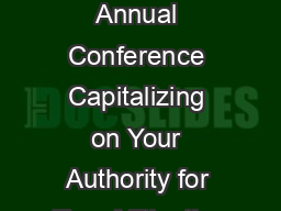 ASFPM Annual Conference Capitalizing on Your Authority for True Mitigation
