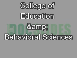 College of Education & Behavioral Sciences