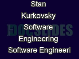 Stan Kurkovsky Software Engineering Software Engineeri