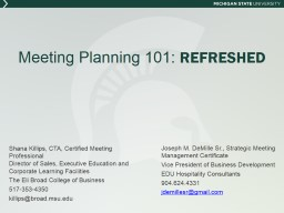 Meeting Planning 101:  REFRESHED