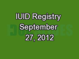 IUID Registry September 27, 2012