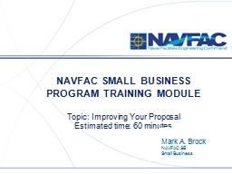NAVFAC SMALL BUSINESS PROGRAM TRAINING MODULE