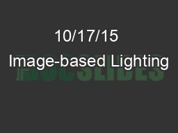 10/17/15 Image-based Lighting