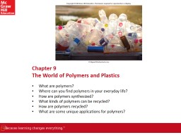 Chapter  9 The World of Polymers and Plastics