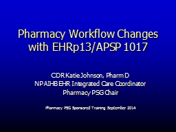 Pharmacy Workflow Changes with EHRp13/APSP 1017