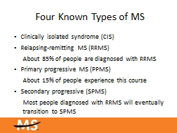 Four Known Types of  MS Clinically isolated syndrome (CIS)