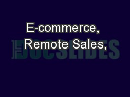 E-commerce, Remote Sales,