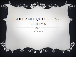 BDD and Quickstart claims
