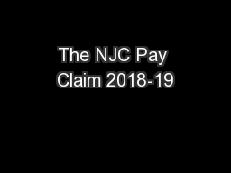 The NJC Pay Claim 2018-19