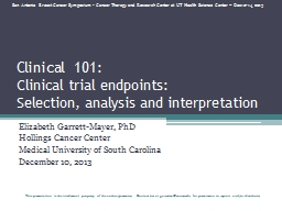 Clinical 101: Clinical trial endpoints: