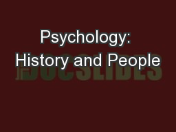 Psychology: History and People