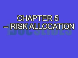 CHAPTER 5 – RISK ALLOCATION
