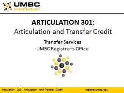 ARTICULATION 301: Articulation and Transfer Credit