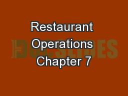 Restaurant Operations Chapter 7