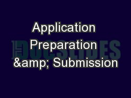 Application Preparation & Submission