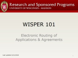 WISPER 101 Electronic Routing of Applications & Agreements