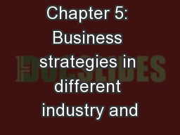 Chapter 5: Business strategies in different industry and