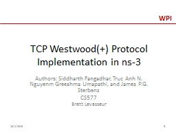 TCP Westwood( ) Protocol Implementation in ns-3