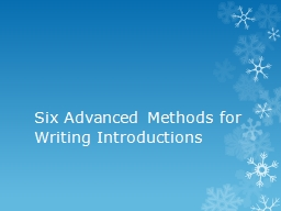Six Advanced Methods for Writing Introductions