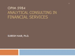 OPIM 5984 ANALYTICAL CONSULTING in