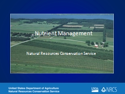 Nutrient Management Natural Resources Conservation Service