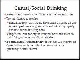 Casual/Social Drinking A