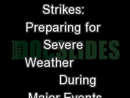 When Lightning Strikes: Preparing for Severe Weather                 During Major Events