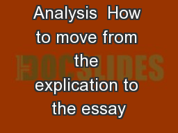 Poetry Analysis  How to move from the explication to the essay