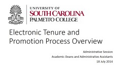 Electronic Tenure and Promotion Process Overview