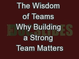 The Wisdom of Teams Why Building a Strong Team Matters