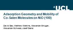Adsorption Geometry and Mobility of
