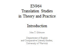 EN964  Translation  Studies