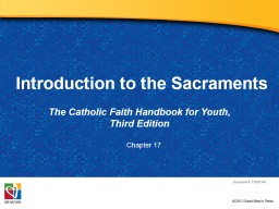 Introduction to the Sacraments