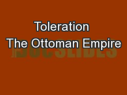 Toleration The Ottoman Empire