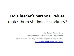 Do a leader's personal values make them victims or saviours? PowerPoint PPT Presentation