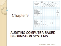 Chapter 9 AUDITING COMPUTER-BASED INFORMATION SYSTEMS
