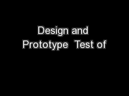 Design and Prototype  Test of