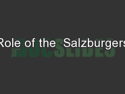 Role of the  Salzburgers
