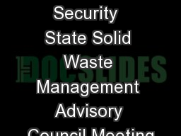 Ohio Homeland Security  State Solid Waste Management Advisory Council Meeting PowerPoint PPT Presentation