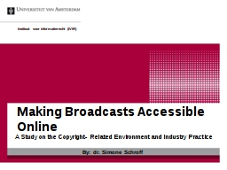 Making Broadcasts Accessible Online