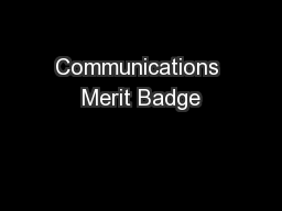 Communications Merit Badge