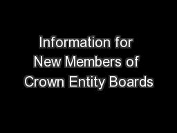 Information for New Members of Crown Entity Boards