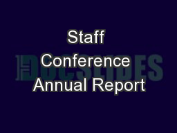Staff Conference Annual Report