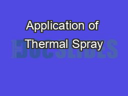 Application of Thermal Spray