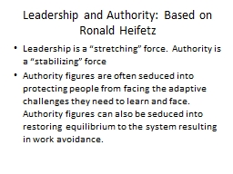 Leadership and  Authority: Based on Ronald Heifetz