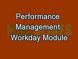 Performance Management Workday Module