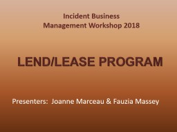 Incident Business Management Workshop 2018